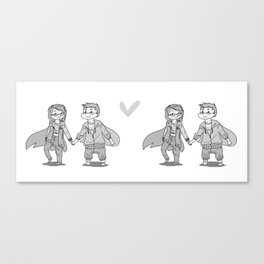 Me & You Grayscale Canvas Print