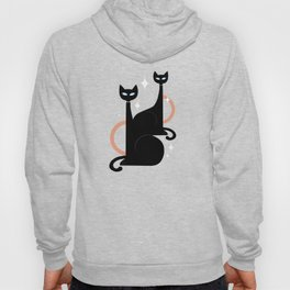 Fashionable Felines Atomic Age Black Kitschy Cats Hoodie