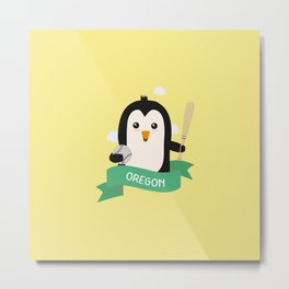 Baseball Penguin from OREGON  T-Shirt for all Ages Metal Print