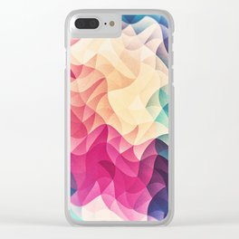 Geometry Triangle Wave Multicolor Mosaic Pattern - (HDR - Low Poly Art) Clear iPhone Case