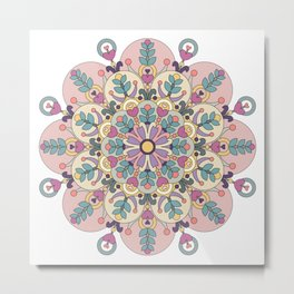 Happiness is Now Mandala Metal Print
