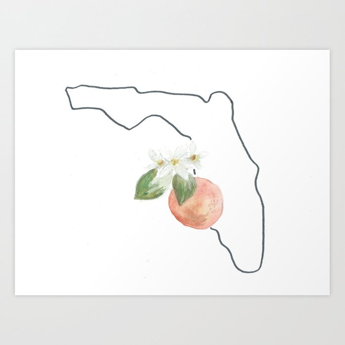 Florida Watercolor Orange Blossom State Flower Map Art Print By