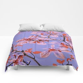 Copper Flowers on violett ground Comforters