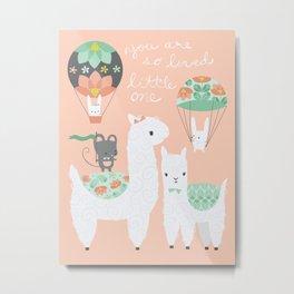 Llama Party Metal Print