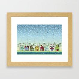 Doodle Houses Framed Art Print