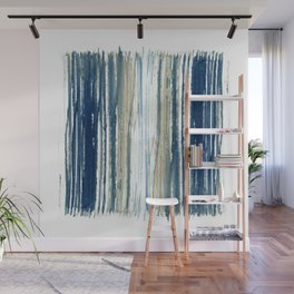 Indigo Blue and Beige Watercolor Stripes Wall Mural