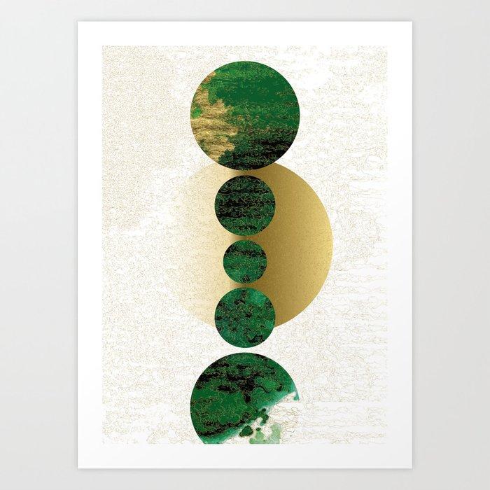 Green Balanced Galaxy Art Print