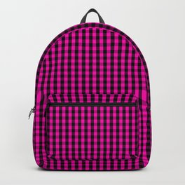 Small Hot Neon Pink and Black Gingham Check Backpack