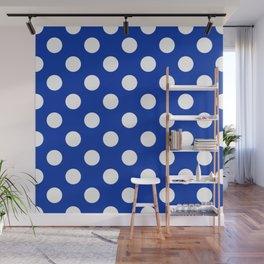 International Klein Blue - blue - White Polka Dots - Pois Pattern Wall Mural