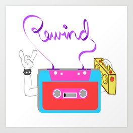 Here's A Great 80's design A Colorful 80's Design Saying Rewind T-shirt Design Vitage Retro Colorful Art Print