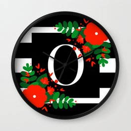 O - Monogram Black and White with Red Flowers Wall Clock