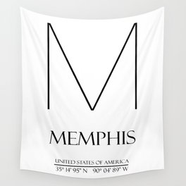 MEMPHIS City GPS Coordinates Wall Tapestry