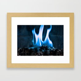 Ashes and Flames Blue Framed Art Print