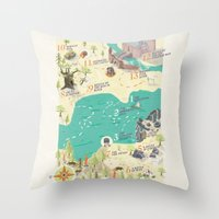 princess bride Throw Pillows featuring Princess Bride Discovery Map by Wattle&Daub