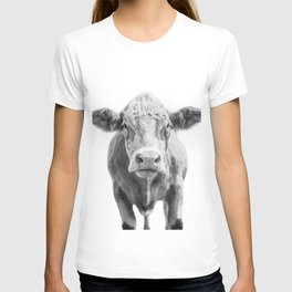 Highland Cow Portrait | Animal Photography | Black and White | Art Print Minimalism | Farm Animal T-shirt