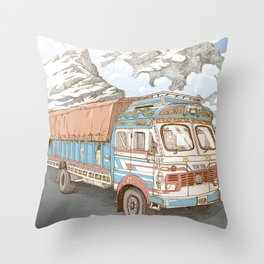 A Truck in the Himalayas Throw Pillow