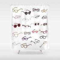 glasses Shower Curtains featuring glasses by Janaína Esmeraldo