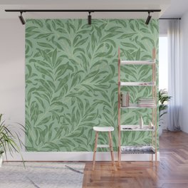 Green Botanical Leaves Pattern Wall Mural