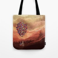 pixar Tote Bags featuring Pixar Up! in the Clouds by foreverwars