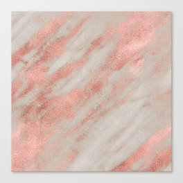 Marble Rose Gold White Marble Foil Shimmer Canvas Print