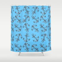 anchors Shower Curtains featuring Anchors by Jumanaah Hiasat