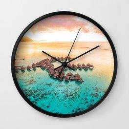 Bora bora Tahiti honeymoon beach resort vacation Wall Clock
