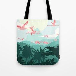 Flamingos flying through the Tropics Tote Bag