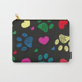 Doodle colorful paw prints with hearts seamless fabric design pattern vector black background Carry-All Pouch