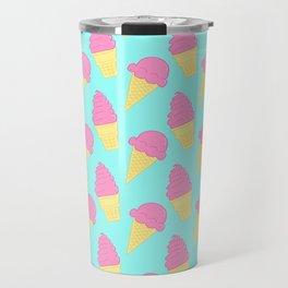 Pink Ice Cream on Blue Travel Mug