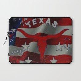 Texas Red & White Americana Longhorn Logo Pattern Art Laptop Sleeve