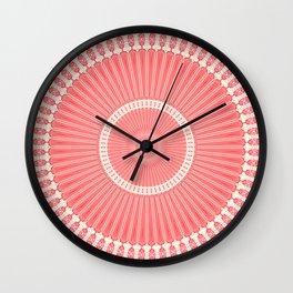 Cream and Coral Simple Mandala Wall Clock