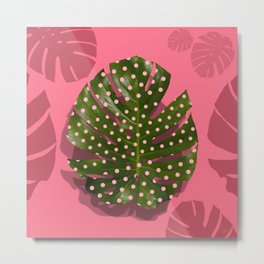 """Moss green leaf and pink flamenco polka dots"" Metal Print"