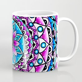 Mandala #2 Wall Tapestry Throw Pillow Duvet Cover Bright Vivid Blue Turquoise Pink Contempora Modern Coffee Mug