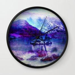 Abstract Winter Lake Wall Clock
