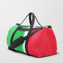Mid Century Modern Minimalist Colorful Pop Art Abstract Vintage Style Red Green Blob Duffle Bag
