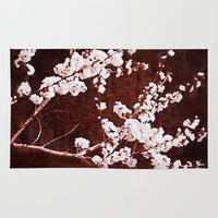 cherry blossoms Area & Throw Rugs featuring Cherry Blossoms by Paula Belle Flores