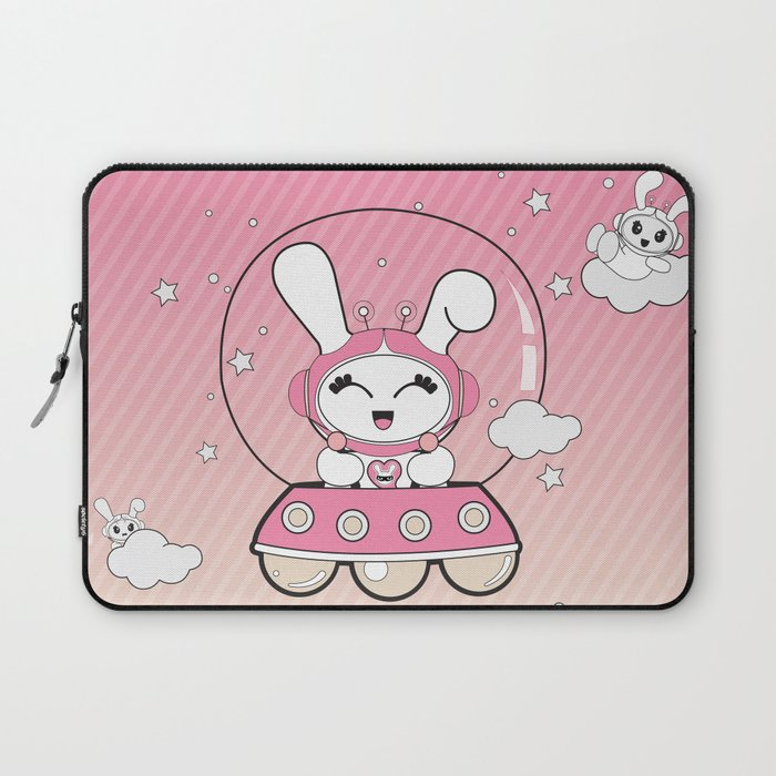 Space Bunny Flying Laptop Sleeve