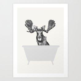 Vintage Moose in Bathtub Art Print