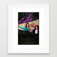 heathers Framed Art Prints featuring THE HEATHERS TAKE A #SELFIE by Mikey Pop Designs