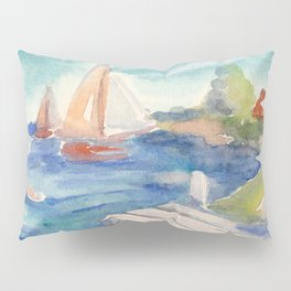 Sailing boat in sea drawing by watercolor Pillow Sham