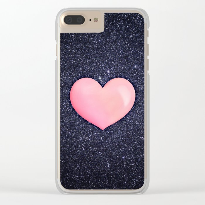 Pink heart on shiny black Clear iPhone Case