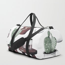 Happy Potted Cacti in Rose Gold Pots Duffle Bag