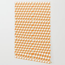 Diamond Repeating Pattern In Russet Orange and Grey Wallpaper