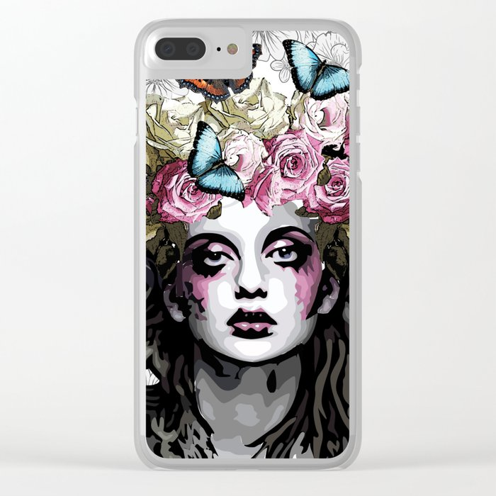 Rose, portrait of a woman with roses Clear iPhone Case