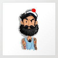 navy Art Prints featuring Navy by Mailys Brau