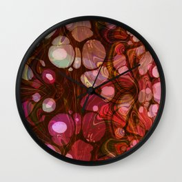 Abstract Painting - Marbling Art 03- Fluid Painting - Purple, Pink, Brown, Black - Modern Abstract Wall Clock