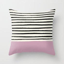 Dusty Rose & Stripes Throw Pillow