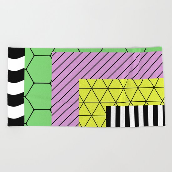 Go Bigger (Abstract, geometric, pastel designs) Beach Towel