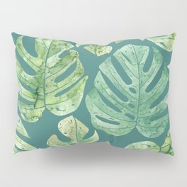Jungle leaves Monstera leaves Palm leaves Tropical Pillow Sham