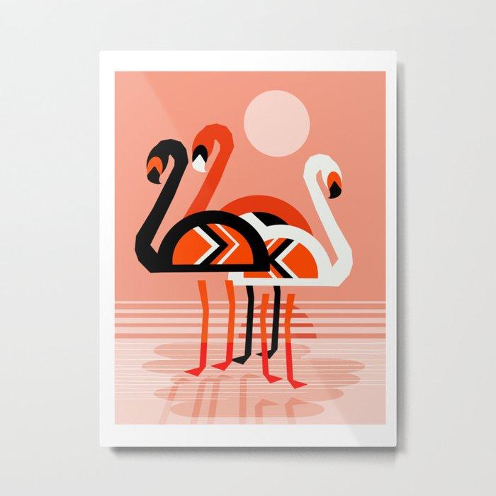 Posse - flamingo throwback nostalgia retro neon art print hipster trendy style minimal abstract geo Metal Print